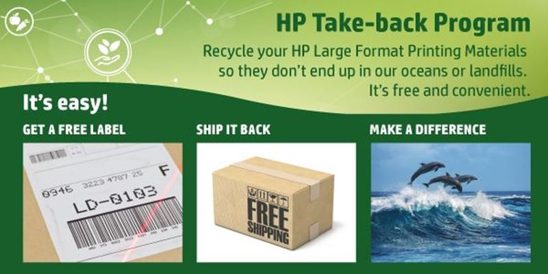 Return printed signage materials for free with the HP Take-back Program