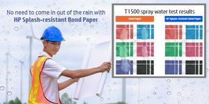 No need to come in out of the rain with HP Splash-resistant Bond Paper