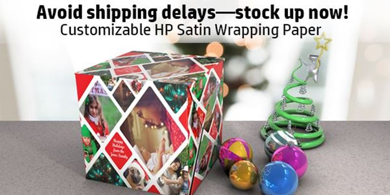 """Avoid holiday """"Shipageddon"""" – Stock up now on HP Satin Wrapping Paper!"""